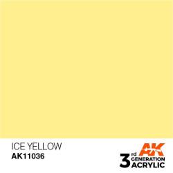 Acrílicos de 3rd Generación,  ICE YELLOW  – STANDARD. Bote 17 ml. Marca Ak-Interactive. Ref: Ak11036.