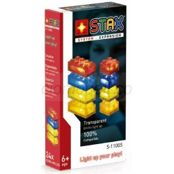 Paquete expansión STAX. Transparente: rojo, amarillo, azul, naranja. Kit construction blocks. Marca Stax System. Ref: S-11005.