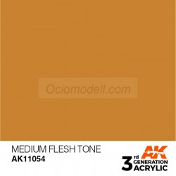 Acrílicos de 3rd Generación, MEDIUM FLESH TONE– STANDARD. Bote 17 ml. Marca Ak-Interactive. Ref: Ak11054.