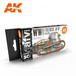 Set acrilicos 3G, WWI FRENCH AFV COLORS. Marca AK Interactive. Ref: AK11660.