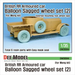 British RR Armoured car balloon Sagged Wheel set- 2 for Meng. Escala 1:35. Marca Def.Model. Ref: DW30044.