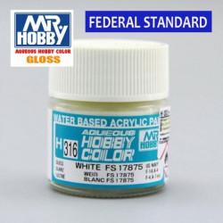 Mr.HOBBY AQUEOUS COLOR , Blanco brillo FS17875. Bote 10 ml. Marca MR.Hobby. Ref: H316.
