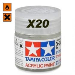 Acrylic Thinner, Disolvente Acrilico (81020). Bote 23 ml. Marca Tamiya. Ref: X-20A, (X20A)