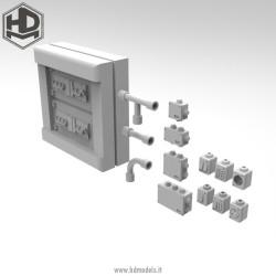 Elementos eléctricos civiles de exterior. Escala 1:35. Marca Macone. Ref: HDM35017.