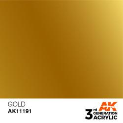 Acrílicos de 3rd Generación, GOLD – METALIC. Bote 17 ml. Marca Ak-Interactive. Ref: Ak11191.