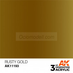 Acrílicos de 3rd Generación,  RUSTY GOLD – METALIC. Bote 17 ml. Marca Ak-Interactive. Ref: Ak11193.