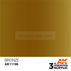 Acrílicos de 3rd Generación,  BRONZE – METALIC. Bote 17 ml. Marca Ak-Interactive. Ref: Ak11196.