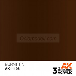 Acrílicos de 3rd Generación,  BURNT TIN – METALIC. Bote 17 ml. Marca Ak-Interactive. Ref: Ak11198.