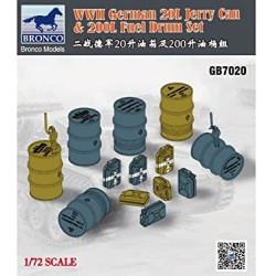 Set 20l Jerry Can & 200l Fuel Drum, WWII German. Escala 1:72. Marca Bronco Models. Ref: GB7020.