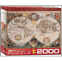 Antique World Map. Puzzle Horizontal, 2000 pz. Marca Eurographics. Ref: 8220-1997.