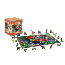 Parrot Island, Puzzle de madera con piezas de doble cara. 150 pz. Marca Wooden City. Ref: EX0007M.