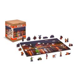 Amsterdam by Night, Puzzle de madera con piezas de doble cara. 150 pz. Marca Wooden City. Ref: NL0008M.