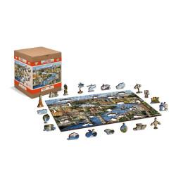 World Landmarks, Puzzle de madera con piezas de doble cara. 150 pz. Marca Wooden City. Ref: TR0001M.