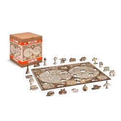 Antique World Map, Puzzle de madera con piezas de doble cara. 600 pz. Marca Wooden City. Ref: TR0018XL.