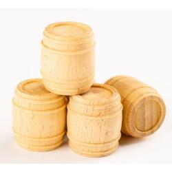 Barriles madera 22mm, 4 unidades. Marca Amati. Ref: 412022.