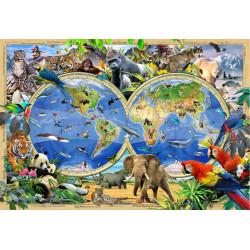 Animal Kingdom Map, Puzzle de madera con piezas de doble cara. 75 pz. Marca Wooden City. Ref: TR0014-S.