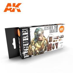 Set colores leather and buckles ( cuero y hebillas ). Marca AK Interactive. Ref: AK11620.