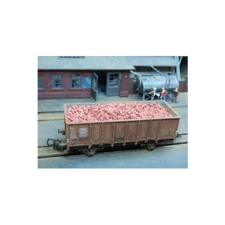 Ladrillos en Tono Rojo Oscuro. 3000 unidades. Escala 1/87. Marca Juweela. Ref: 28026.