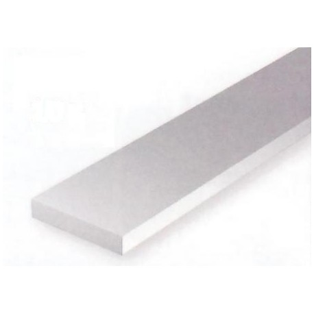Conjunto de 10 tiras Blancas de Estireno de 0,50 x 4,80 mm, 350 mm. Marca Evergreen. Ref: 128.
