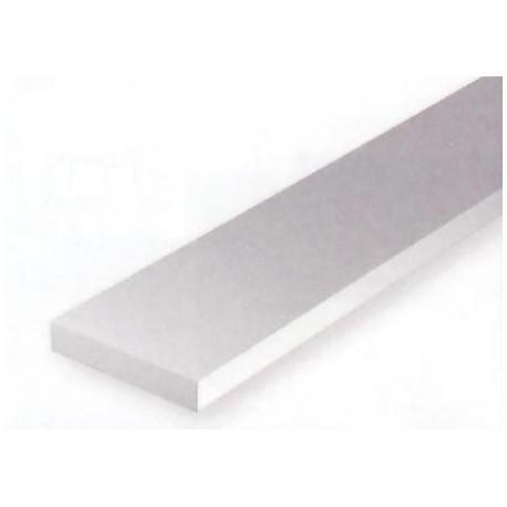 Conjunto de 10 tiras Blancas de Estireno de 0,75 x 1,50 mm, 350 mm. Marca Evergreen. Ref: 133.