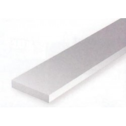 Conjunto de 10 tiras Blancas de Estireno de 1,00 x 4,00 mm, 350 mm. Marca Evergreen. Ref: 147.