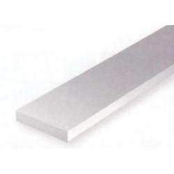 Conjunto de 6 tiras Blancas de Estireno de 3,20 x 4,80 mm, 350 mm. Marca Evergreen. Ref: 188.