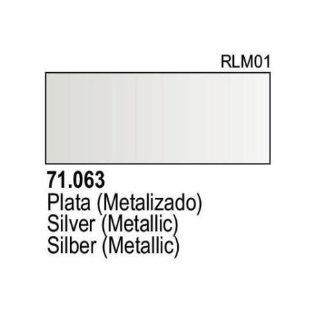 Acrilico Model Air Plata metalizada. Bote 17 ml. Marca Vallejo. Ref: 71.063.