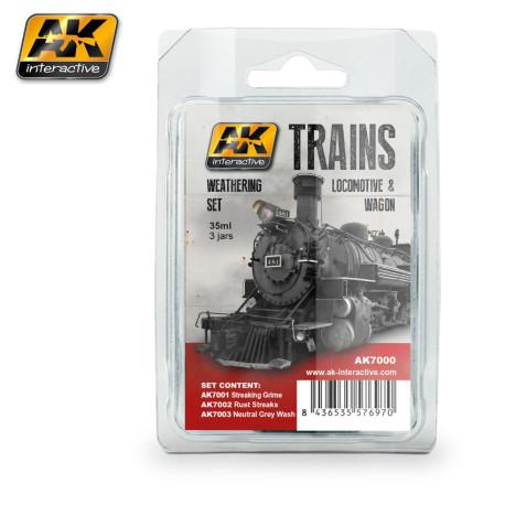 Set de envejecimiento para locomotoras y vagones. Marca AK Interactive. Ref: AK7000.