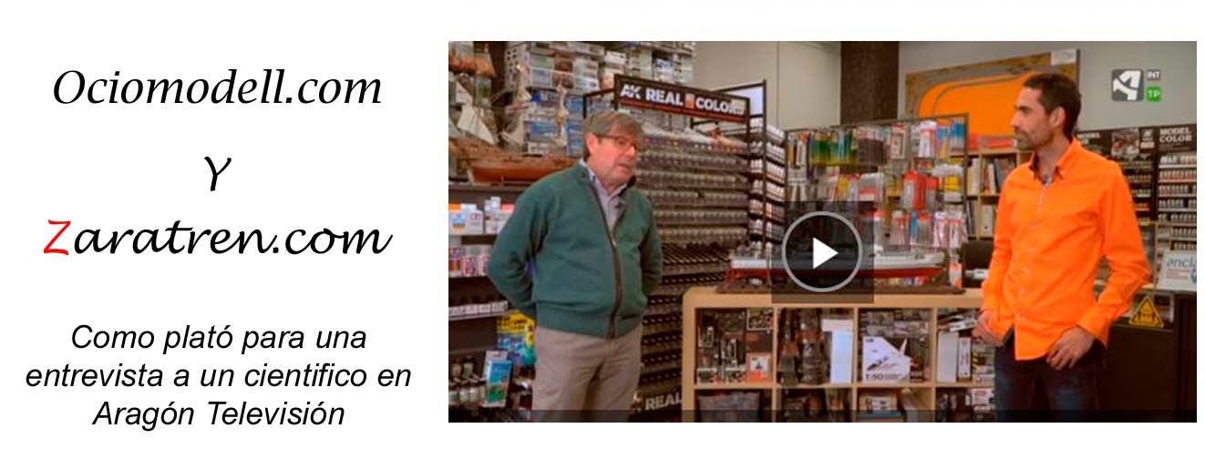 Ociomodell - Aragón televisión realiza una entrevista en nuestro local comercial para un programa científico.